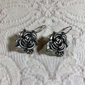 Sterling silver ornate rose earrings vintage 80's